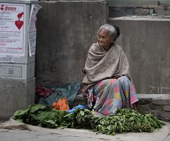 Kathmandu streets (John D Fielding) Tags: vendor veg vegetables greens lady oldlady selling sales vending retail kathmandu nepal