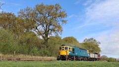 Wagon delivery (Duck 1966) Tags: 33102 crompton class33 foxfieldrailway sky trees wagons coal emrps diesel locomotive