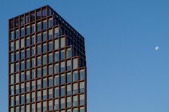 Bałtyk Tower - Poznań (damianziel) Tags: pentax pentaxk50 pentaxart architektura architecture architektur urban city cityscape moon minimalistic minimalism kitlens symmetry goldenhour smcpda1855mmf3556alwr