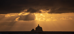 Tillamook Rock Lighthouse (Greg Adams Photography) Tags: lighthouse sunset dusk oregon cannonbeach light clouds sea ocean pacific travels hhsc2000 silhouette