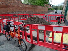 Piles (stevenbrandist) Tags: tsr roadworks red moulton spaceframe roadclosed hole barrier rothley leicestershire