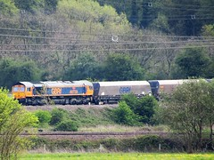 GBRF 66759 Passing Burton Salmon, Seen From Fairburn North Yorkshire. (Gary Chatterton 6 million Views) Tags: gbrailfreight gbrf 66759 class66 locomotive dieseltrain networkrail railway railroad track rail lines burtonsalmon northyorkshire flickr explore canonpowershotsx430 photography