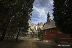 Falling at the Church (Matt Straite Photography) Tags: yosemite nationalpark national forest trees valley park church gcam sky clouds waterfall water river stream landscape wide wideangle canon tripod