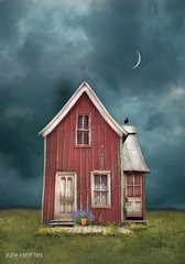 Implicit Simplicity (sharon o*brien huey) Tags: crow moon old house magicalrealism fairytale surreal textures sharonobrienhuey landomakebelieve clouds
