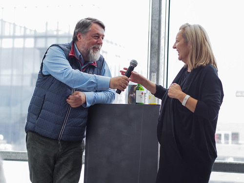 CE19 – talks & events: CREATIVE EUROPE Get-Together // Vitaly Mansky (dir. PUTIN'S WITNESSES), Christine Dollhofer (festival director) // photo © Michael Straub / subtext.at
