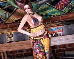 Love song 👢 (ღ Sɑrɑɑh Drɑgoone ღ) Tags: sl secondlife bentoav bento cotton woman girl gorgeous sexy outfit maitreya genus psicodelic peace vinil pic photo portrait gameonline mesh freckle sunglass color