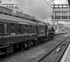 6233, Twyford, (B-W), 27 April 2019 (2) (BaggieWeave) Tags: lms princesscoronation duchessofsutherland 6233 steamengine steamlocomotive steam steamtrain twyford berkshire gwml bw blackandwhite 462 pacific uk reading unitedkingdom england