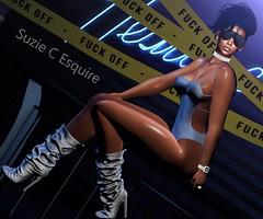 BLOG #266 (Suzie Coba Esquire) Tags: basec hair homage laith mona blockers choker diamond tibet hill rowne bodysuit pose 107 vexiin boots leather yas queen