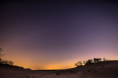 Dreamy scene after sunset (feisas) Tags: sky night stars sun sunset orange purple sand dunes dream beautiful surreal lights travel colorful adventure outdoor outside landscape evening sonya7 fullframe netherlands alone camping vivid trees remarkable moment samyang bright wide rokinon 24mm