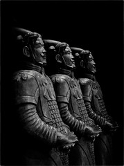 Hosts of a Chinese Restaraunt (Peter Polder) Tags: australia alley bw city chinatown evening restaurant statue urban