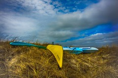Boats at Rest (Bud in Wells, Maine) Tags: drakesisland kayaks canoes boats clouds hdrefexpro2 niksoftware dunes dunegrass hss