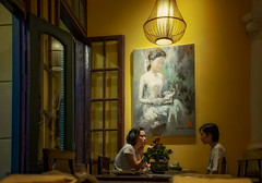 Women Reading (Rod Waddington) Tags: asia vietnam north hanoi restaurant candid painting woman women group door table dining readers reading light vs homecooking indoor lightshade happyplanet asiafavorites