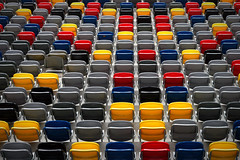 Smarties (HWHawerkamp) Tags: duesseldorf stadium sports chairs smarties colours graphical abstract