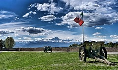 "Theirs was a ""very difficult job"" but now I am ""retired"".  (Fossano, Piedmont, Italy). (Federico Fulcheri Photo) Tags: federicofulcheriphoto©️ italy piedmont fossano travel peack mountain monviso colors patriotism old history defence steel grass italianflag flag worldwar war guns clouds sky nopeople outdoors snapseed iphonexsmax iphone apple"