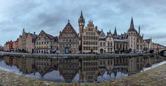Gent (P.Tob-Ys) Tags: belgium gent water mirror old medival river sky city architecture panorama blue cloudy rain sunrise morning
