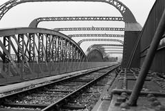 Kiev 4a (camera_holic) Tags: kiev 4 4a soviet rangefinder 35mm ukrainian russian 1970s ilford hp5 plus 400 film analogue bristol city centre black white st phillips blue bridge rail railway train track
