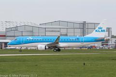 PH-EXK - 2017 build Embraer 170-200 (175STD), taxiing for departure on Runway 23L at Manchester (egcc) Tags: 170200 17000629 egcc exk629 emb175 embraer embraer175 embraer175std kl klc klm klmcityhopper lightroom man manchester phexk ringway skyteam