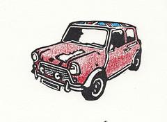 Mini - Mini Print (lwdphoto) Tags: lance duffin lancewadeduffin lanceduffin mini minicooper car auto automobile british english england miniprint blockprint print printmaking ink art linocut stamp handcolored coloredpencils