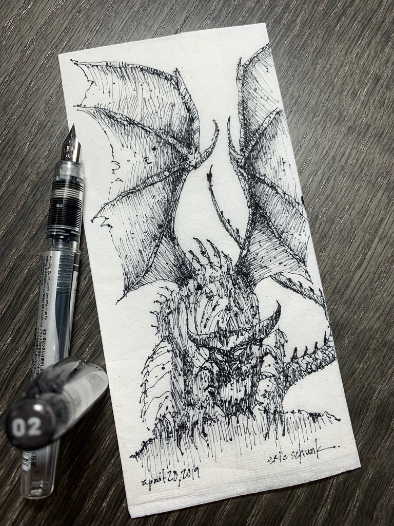 The darker side of morning schunky monkey tags fountainpen penandink ink pen illustration art