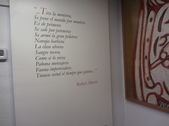 Poem by Rafael Alberti, Picasso Museum,  Buitrago  de Lozoya, Madrid. (d.kevan) Tags: museum buitragodelozoya exhibits displaycabinets madrid spain text poems rafaelalberti spanish