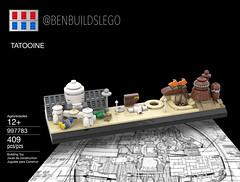 Lego Star Wars - Tatooine Skyline MOC (Box) (BenBuildsLego) Tags: tatooine lego legos micro scale nano microscale brick bricks bricklink studio 3d render instructions podracer pod racer lars homestead jabba jabbas palace luke skywalker phantom menace star wars benbuildslego