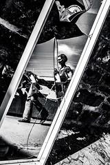 Human Puzzel (blende9komma6) Tags: gr3 human puzzel hannover germany downtown city urban people mensch mirror mirrorless brocken reflection resektion street strasse spiegelung spiegeln spiegel bw sw ricoh gr griii waste müll