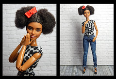 Minnie (Levitation_inc.) Tags: ooak doll dolls fashion fashions levitation levitationfashion handmade casual jeans minnie made move barbie mtm m2m afro dots