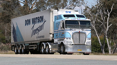 K1 & K2 (2/2) (Jungle Jack Movements (ferroequinologist)) Tags: obrien transport services kenworth kw kenny k100 k200 don watson binalong nsw new south wales australia hume highway hp horsepower big rig haul haulage cabover trucker drive carry delivery bulk lorry hgv wagon road nose semi trailer deliver cargo interstate articulated vehicle load freighter ship move roll motor engine power teamster truck tractor prime mover diesel injected driver cab cabin loud rumble beast wheel exhaust double b grunt bowning