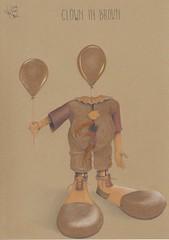 Clown in brown. (Klaas van den Burg) Tags: brown orange colored pencils white humor absurd fun shoes balloons