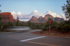 (patrickjoust) Tags: fujica gw690 kodak portra 160 6x9 medium format 120 rangefinder 90mm f35 fujinon lens cable release tripod long exposure c41 color negative film manual focus analog mechanical patrick joust patrickjoust southwest united states north america estados unidos rural arizona az sedona mountains buttes red rocks car blur boynton pass road desert