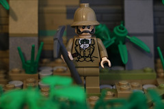 The Lost Heart of El Dorado (Dr. Francis Leopold) (GoodmanLegoDesigns) Tags: lego custom build diorama model adventure adventurers sotry theme boat ship river characters character dr doctor francis leopold joe hurricane temple tapua johnny thunder lighting