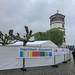 Bauzaun mit Werbebanner für die Sportstadt Düsseldorf, vor dem Schifffahrtsmuseum im Turm des Stadtschlosses am Burgplatz
