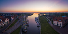 Aerial panorama of the harbour of Greetsiel (Pascal Riemann) Tags: hafen architektur boot greetsiel panoramafotografie fischerboot sonnenaufgang fahrzeug availablelight nordsee deutschland dawn germany sunrise vehicle harbour northsea krummhörn niedersachsen