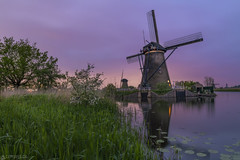 Dusk at the windmill - Kinderdijk (Captures.ch) Tags: aufnahme capture unesco wolken clouds night nacht dusk abenddämmerung abend evening spring frühling holland kinderdijk netherland niederlande rotterdam water wasser tree windmill windmühle sky see river landschaft landscape lake himmel gras fluss baum
