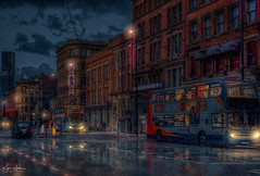 Home Time, Portland Street (Kev Walker ¦ 10 Million Views..Thank You) Tags: architecture building city england manchester panorama panoramic sky town transport water background bridge britain british business canal castlefield center central centre circle cityscape commercial design district downtown dusk europe european great illuminated kingdom landmark light metro metropolitan modern movement night overground piccadilly places public quays railway reflection sign skyline skyscraper speed square station tourism tower trackquayside traffic train transportation travel twilight uk united urban view yellow buses rain reflections