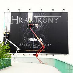 Game of Thrones is coming to an end (Michael Wögerbauer) Tags: gameofthrones got streetphotography mobilephone prague praha prag nightwalker advertising aerialplatform 6x6 czechrepublic czphoto tschechischerepublik českotschechien poster