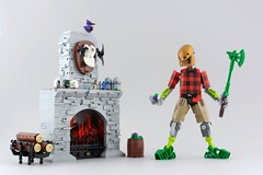 Lewa the Lumberjack (Anthony (The Secret Walrus) Wilson) Tags: lewa toa lego moc creation brick bricks system bionicle mata custom flannel fireplace