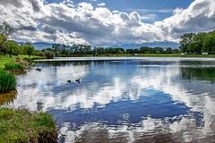 miroir d'eau (Dune 66) Tags: lac st jean pla de corts pyrénées orientales france landscape nature reflets reflections nuages ciel clouds lake