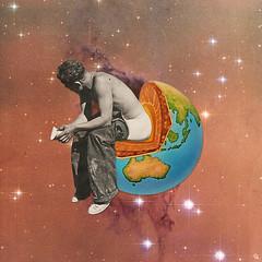 sas (woodcum) Tags: space stars nebula cosmos cosmic planet layers man guy sitting shitting surreal retro vintage collage popart popsurrealism grain color