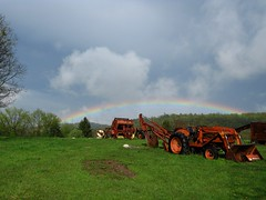 Rainbow 4 30 2019 (Sea Moon) Tags: sky clouds weather optics atmosphere arch spectrum rain sunlight refraction pennsylvania storm tractors farm