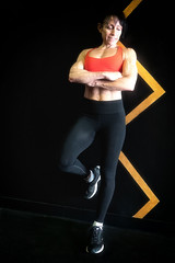portrait of a bodybuilder (ABWphoto!) Tags: female bodybuilder exercise exerciseclothing one middleaged geometric portrait muscles athletic abs arms fitness