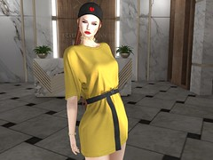 Entrance no.396 (Curiosse) Tags: secondlife 2019 tshirt dress short casual yellow black pixicat