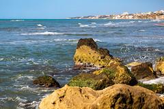 Rocks (gianlucamulone) Tags: rocks sea orange italy water blu waves anzio seascape canon 6d nature horizon