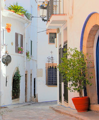 Sitges (M McBey) Tags: street spain catalonia houses doorway white