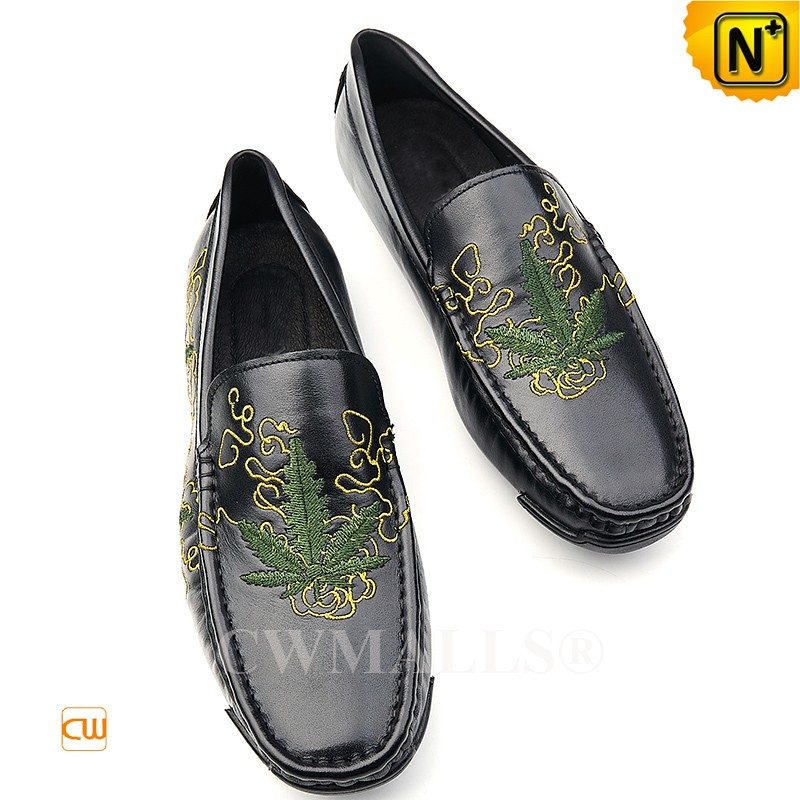 a64d202253ebf Father's Day Gifts | Men Leather Embroidered Penny Loafers CW708222 |  CWMALLS.COM (cwmalls2019