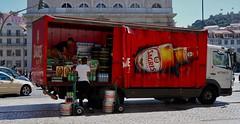 Unloading the Sagres.  Lisbon, May 2015 (sbally1) Tags: lisbon beer portugal lisboa sagres