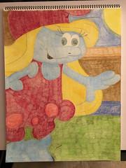 Smurfette (Big-Kid) Tags: smurfette smurf blue light sun sky window carpet green red dress hair long blonde hat hand finger wavy girl