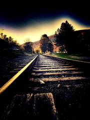 Trust yours instincts, dont be afraid to follow the path ahead. (LAKAN346) Tags: train railroad tracks light morning pennsylvania outdoors spring mountains sleepy town clouds sky mood