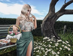 Be Free (Trixie Pinelli) Tags: justbecause mainstorerelease tableauvivant fameshed amias posefair whimberly maitreya lelutka korina bento garden flowers tulips apparel fashion clothing outfit shopping hair hairstyle hairdressing accessories jewelry necklace animation pose model modelling blogger blonde lumipro secondlife sl photography photographer glamaffair wetcat