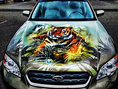 Day 55: Hood Design (Thunderstormnightmare) Tags: waterfall green headlights orange yellow white gray nice pretty outdoor outside amazing awesome cool design subaru car tiger unlimitedpictures unlimitedphotos pictureschallenge photochallenge challenge friday may spring art